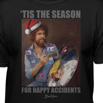 Bob Ross 'Tis The Season For Happy Accidents Officially Licensed Christmas T-Shirt