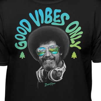 Bob Ross Headphones Good Vibes Only T-shirt