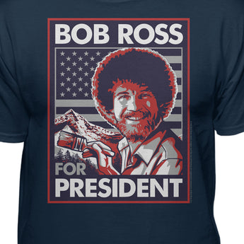 Bob Ross for President American Flag Men's Official Licensed T-Shirt