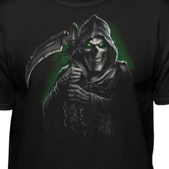 Glowing Grim Reaper Holding Scythe T-Shirt