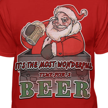 It's The Most Wonderful Time For A Beer Christmas Santa T-Shirt