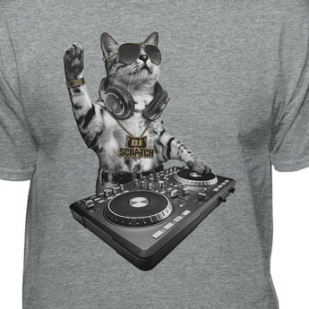 DJ Scratch Cat Spinning On The Turntable Funny T-Shirt