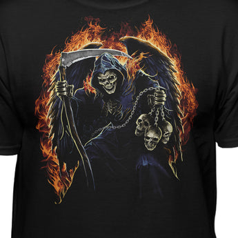Fire Reaper With Skulls On A Chain Fantasy T-Shirt