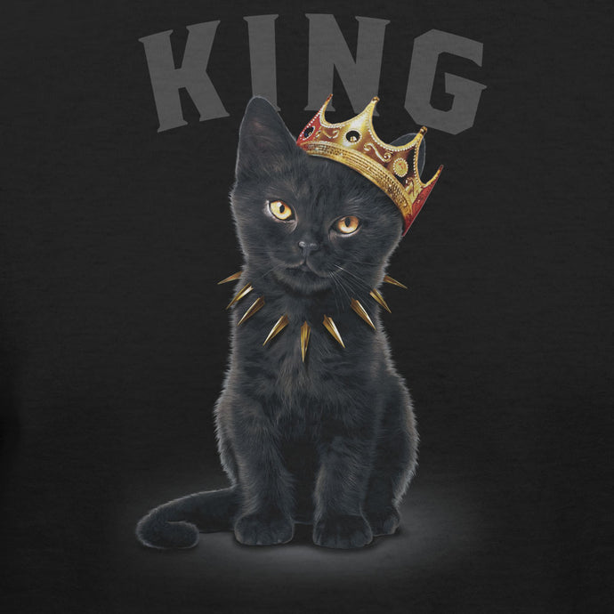 King Black Cat Wearing Crown T-shirt