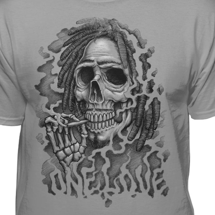 One Love Skull With Dreadlocks Smoking T-Shirt
