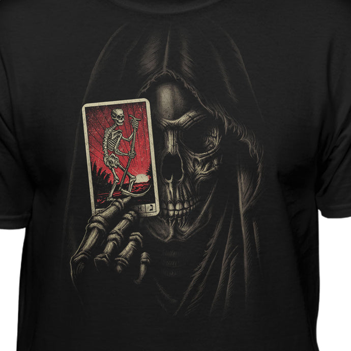 Grim Reaper Holding Tarot Card Fashion T-shirt