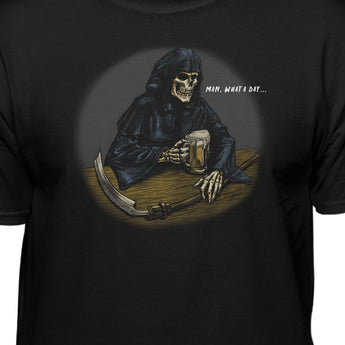 Grim Reaper Drinking B33r What A Day Funny T-Shirt