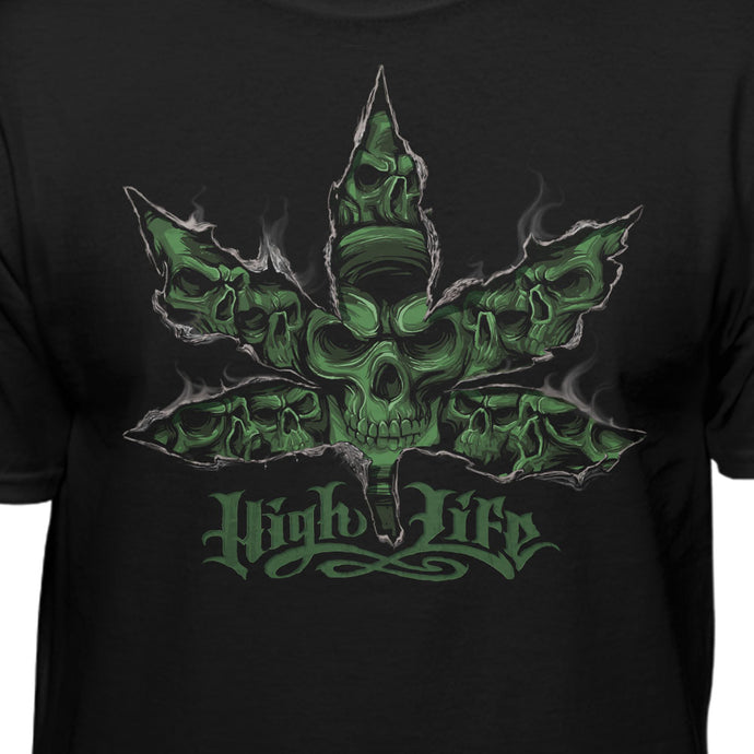 Highlife Feel The Burn 420 Weed Skull T-shirt