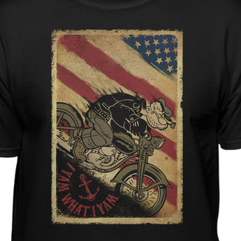 Popeye The Sailor Man I Yam What I Yam Men's Motorcycle Black T-Shirt