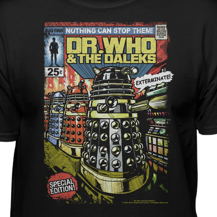 Doctor Who And The Daleks Tardis Comic Book Style Official Licensed T-Shirt