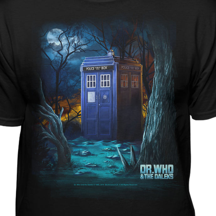 Doctor Who Tardis In Forest On Another Planet Official Licensed T-Shirt
