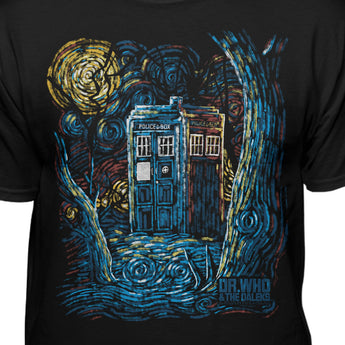 Doctor Who Starry Night Van Gogh Design T-shirt