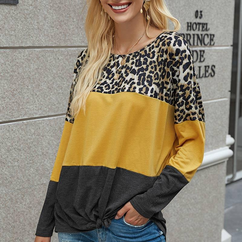 Leopard Print Colorblock Hem Tied Blouse
