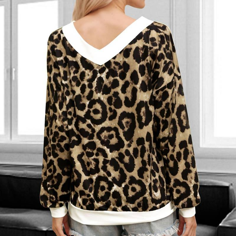 Leopard Print Colorblock Round Neck Blouse