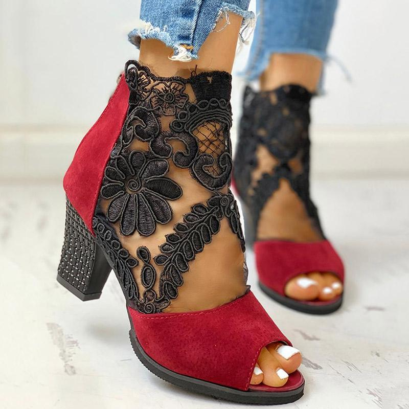 chunky heel boots with laces