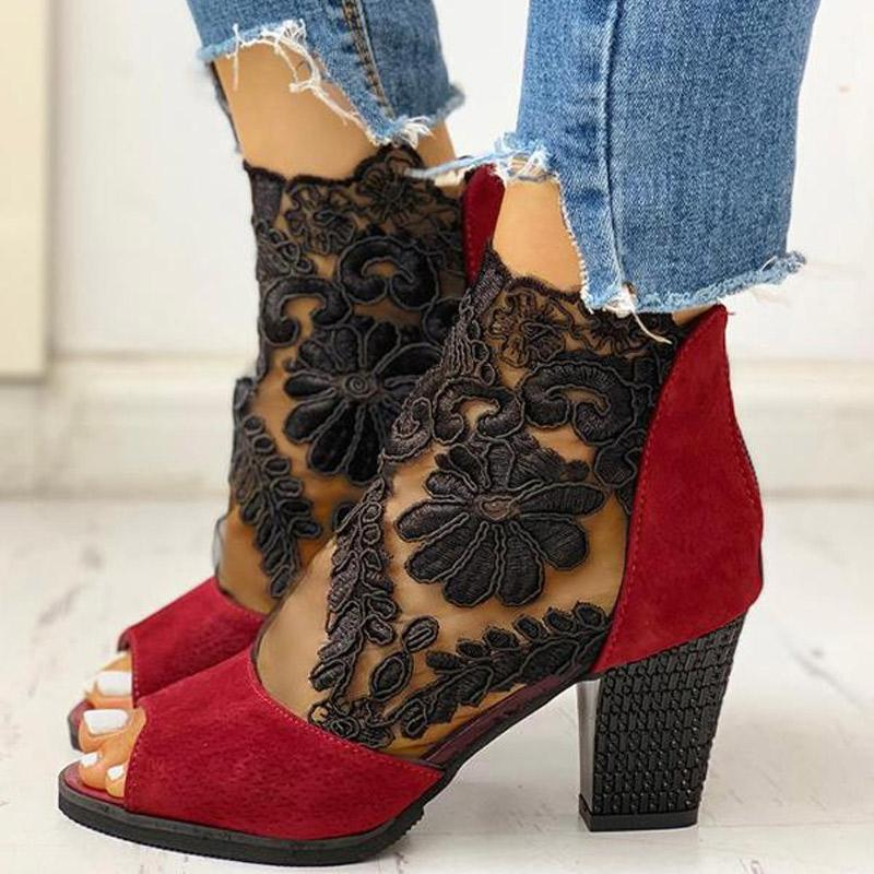 Laced Chunky Heel Boots