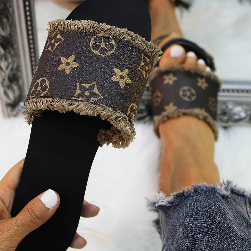 Casual Fashion Letter Print Flat Slippers