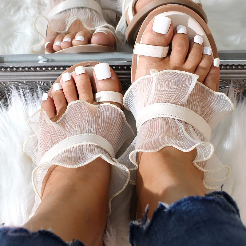 Casual Wild Mesh Ruffled Flat Slippers