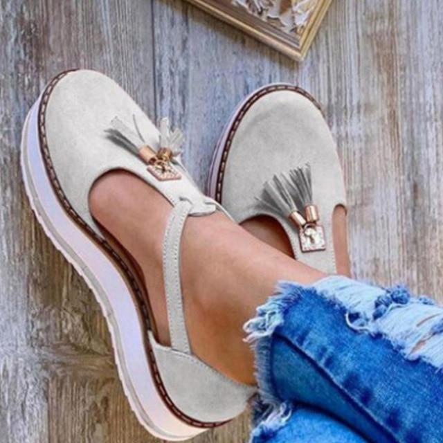 Mary Jane Leather Fringed Platform Flat Shoes