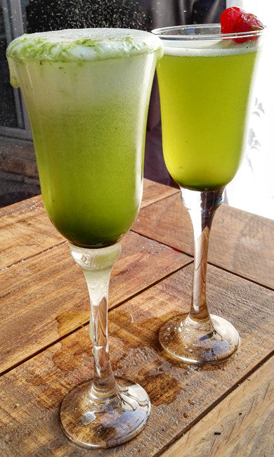 Try this Simple Matcha Champagne at your next party