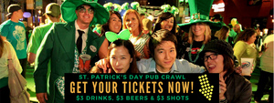 Early bird tickets now available for St. Patrick's Day Pub Crawls in Midtown & Downtown.