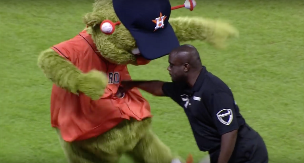 Orbit getting schooled by the Security Guard