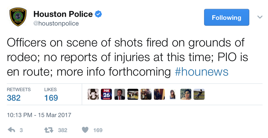 Possible shooting at the Houston Livestock Show and Rodeo.