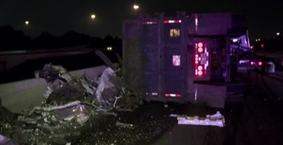 3AM I-10W 18-Wheeler overturned with 79,000 LBS. of scrap metal