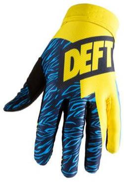 deft family motocross mtb bmx glove catalyst classic yellow blue front