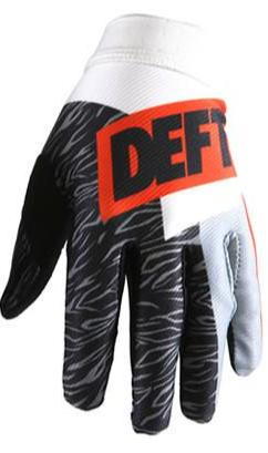 deft family motocross mtb bmx glove artisan classic orange white back