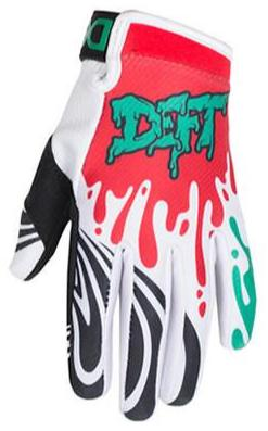 deft family motocross mtb bmx glove youth eqvlnt slime red teal front
