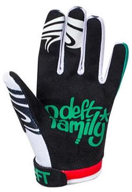 deft family motocross mtb bmx glove youth eqvlnt slime red teal back