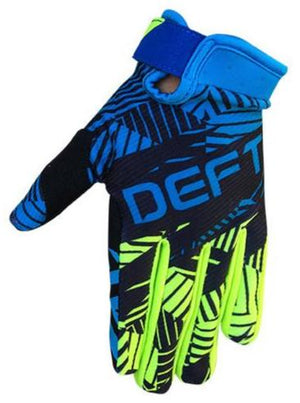 deft family motocross mtb bmx glove youth eqvlnt prospect black blue front