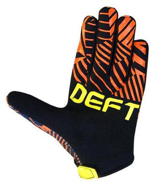deft family motocross mtb bmx glove youth eqvlnt prospect orange yellow back