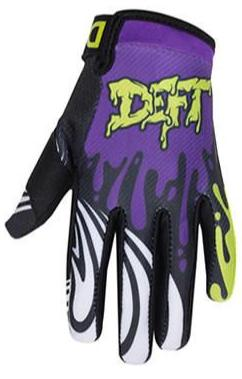 deft family motocross mtb bmx glove youth eqvlnt slime purple lime front