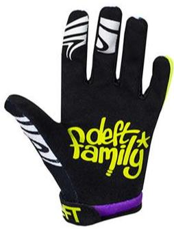 deft family motocross mtb bmx glove youth eqvlnt slime purple lime back