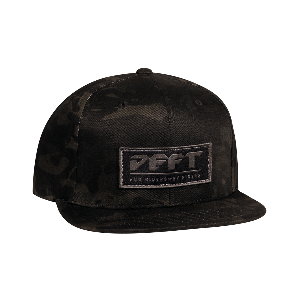 deft family patch snap back hat black multi cam front
