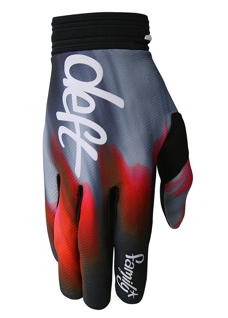 deft family motocross mtb bmx glove catalyst blast red side