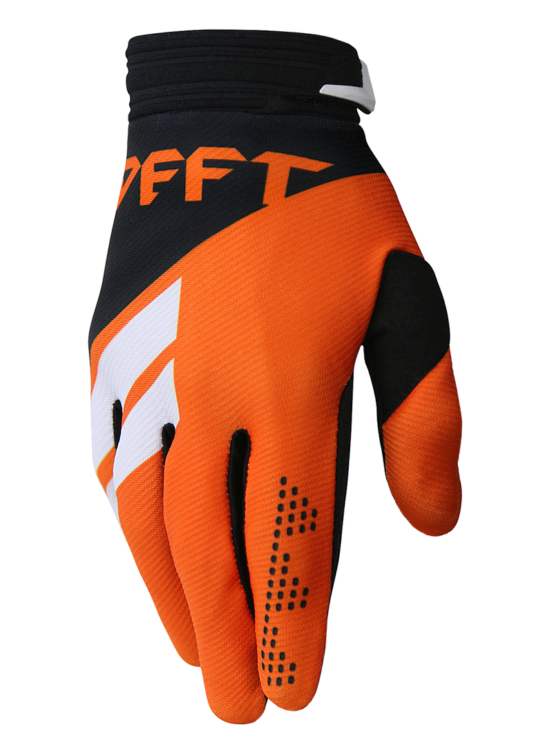 deft family motocross mtb bmx glove catalyst divide orange side
