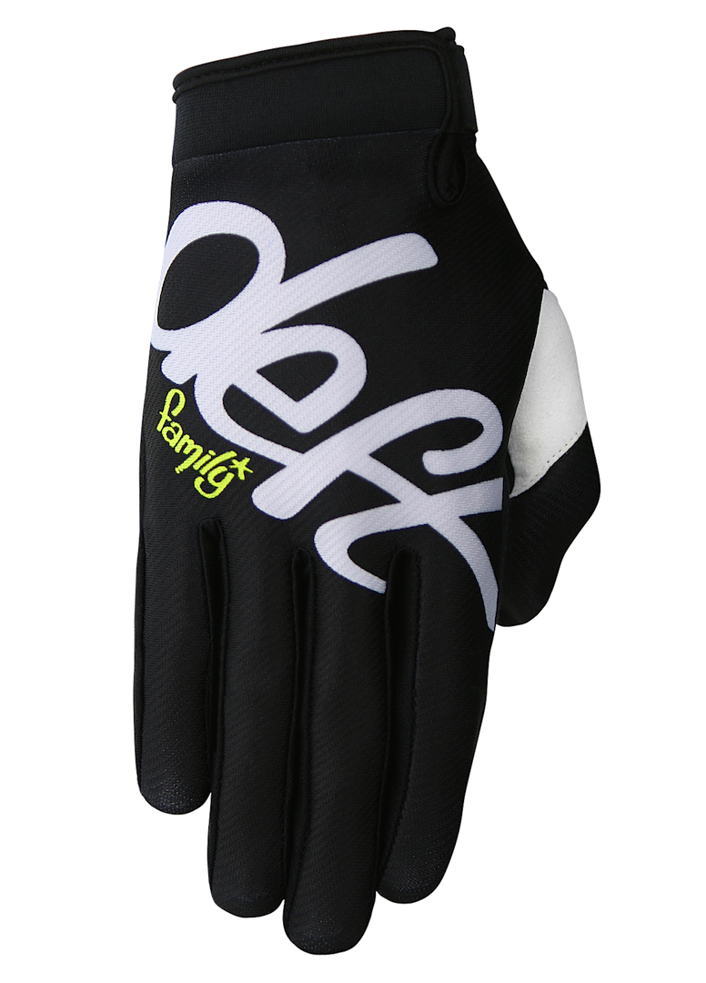 deft family motocross mtb bmx glove youth eqvlnt solid black front