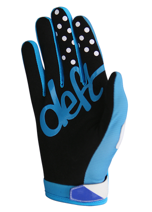 deft family motocross mtb bmx glove youth eqvlnt solid blue back