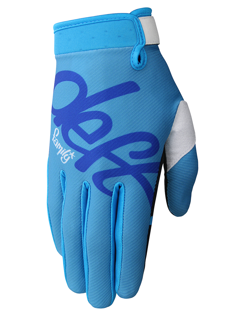 deft family motocross mtb bmx glove youth eqvlnt solid blue front