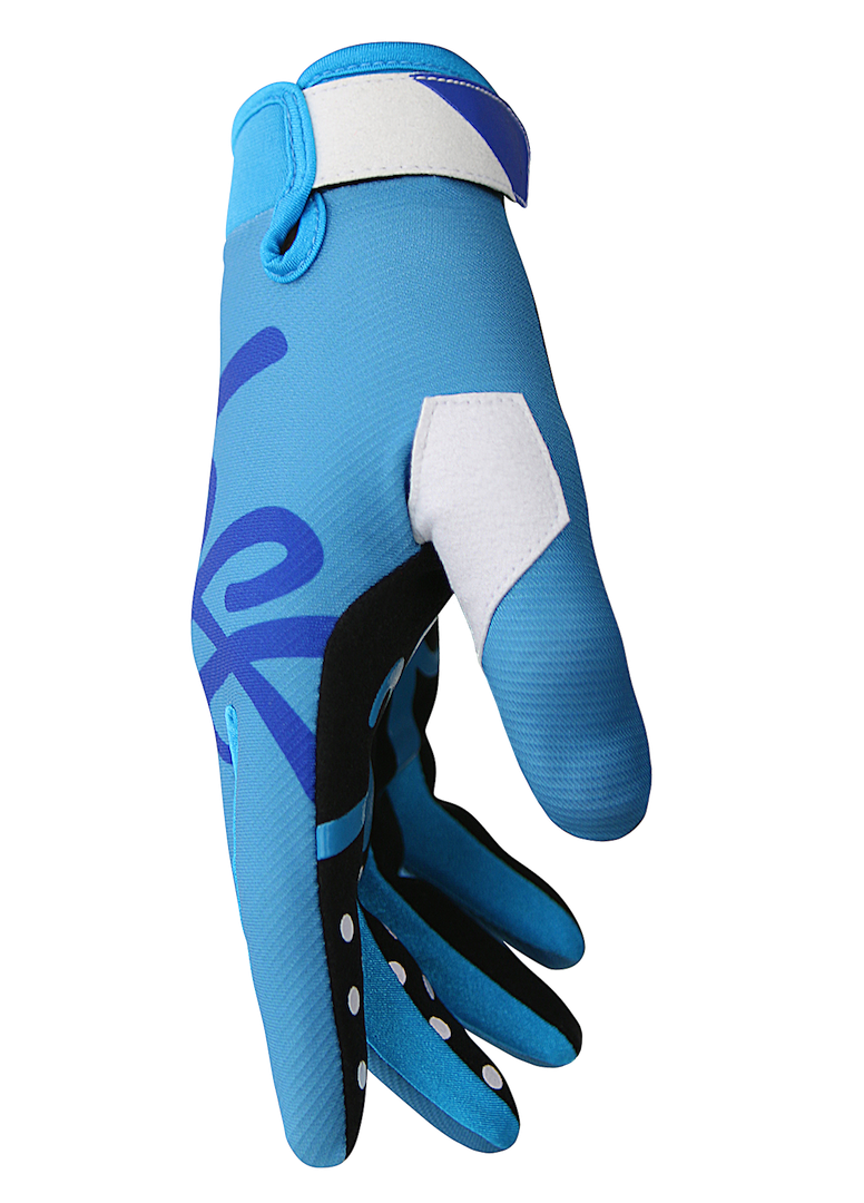 deft family motocross mtb bmx glove youth eqvlnt solid blue side