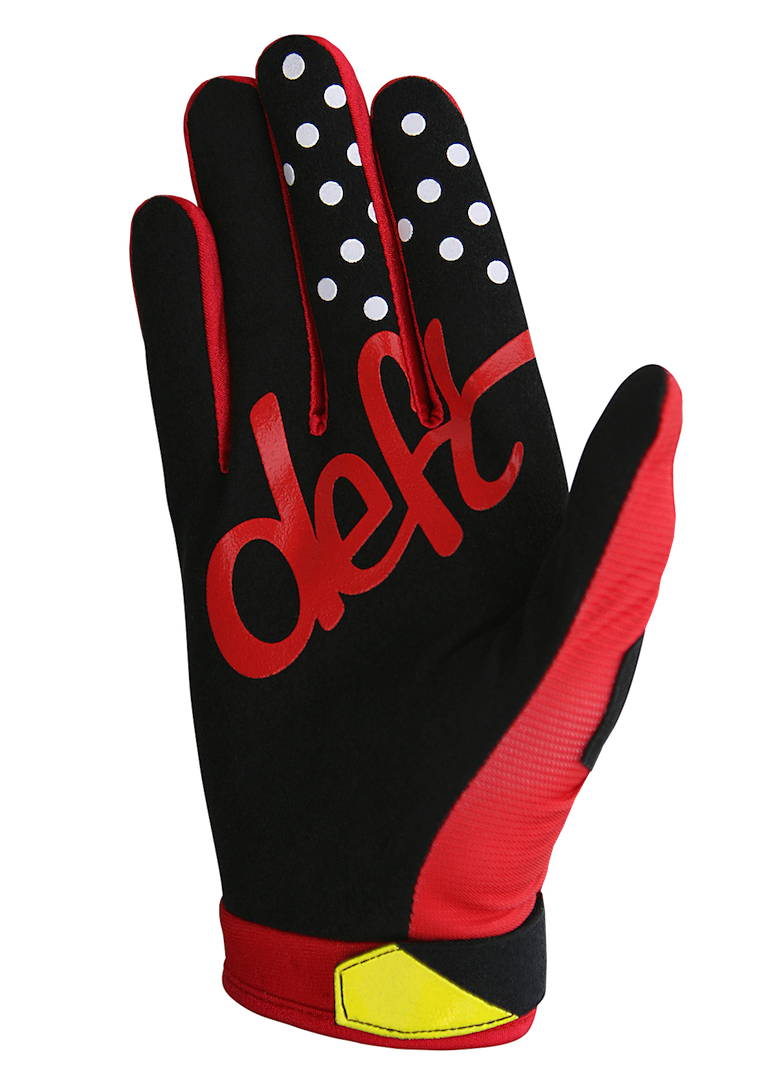 deft family motocross mtb bmx glove youth eqvlnt solid red back