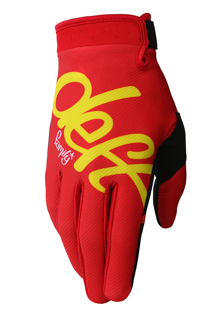 deft family motocross mtb bmx glove eqvlnt solid red front
