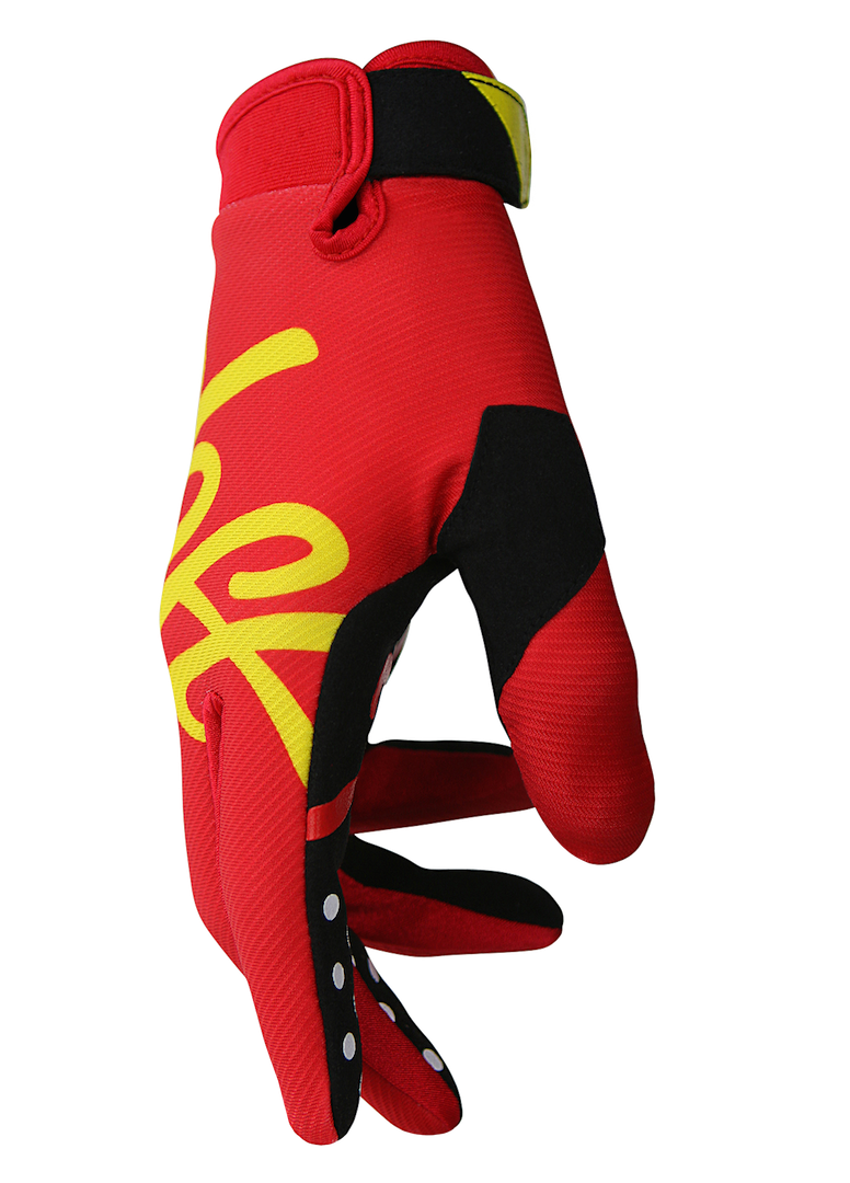 deft family motocross mtb bmx glove youth eqvlnt solid red side