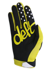 deft family motocross mtb bmx glove youth eqvlnt solid yellow back
