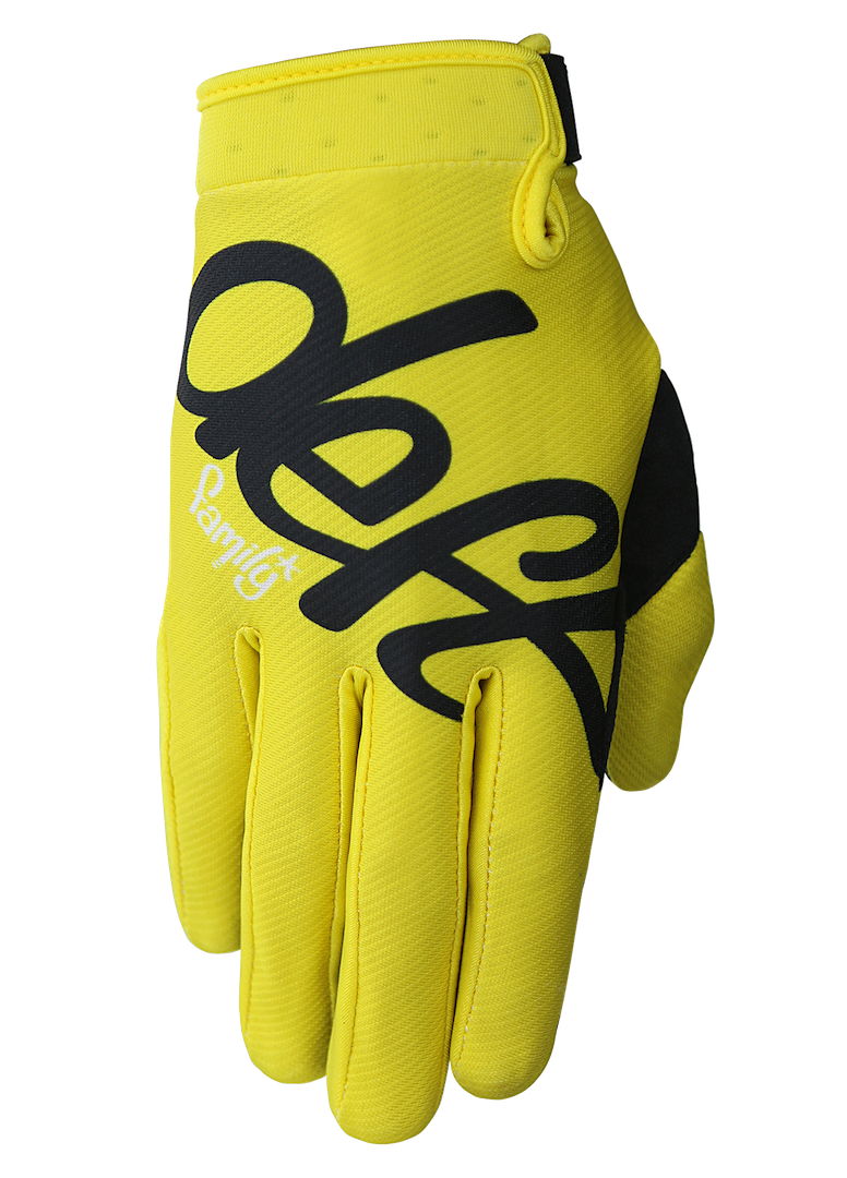deft family motocross mtb bmx glove eqvlnt solid yellow front