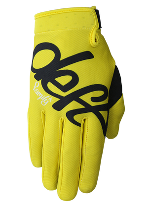 deft family motocross mtb bmx glove youth eqvlnt solid yellow front