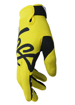 deft family motocross mtb bmx glove youth eqvlnt solid yellow side